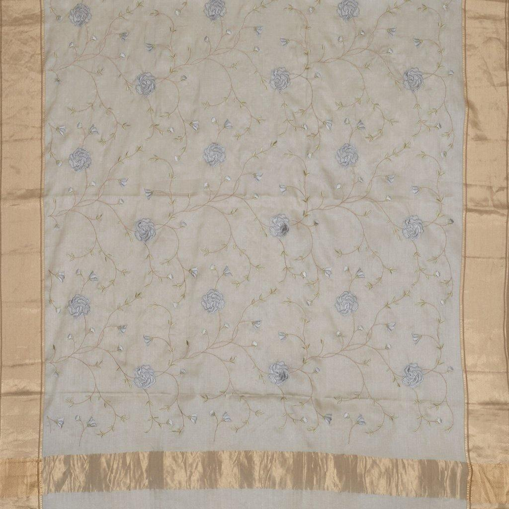 Pearl White Chanderi Embroidery Saree With Floral Jaal-226098 - Singhania's