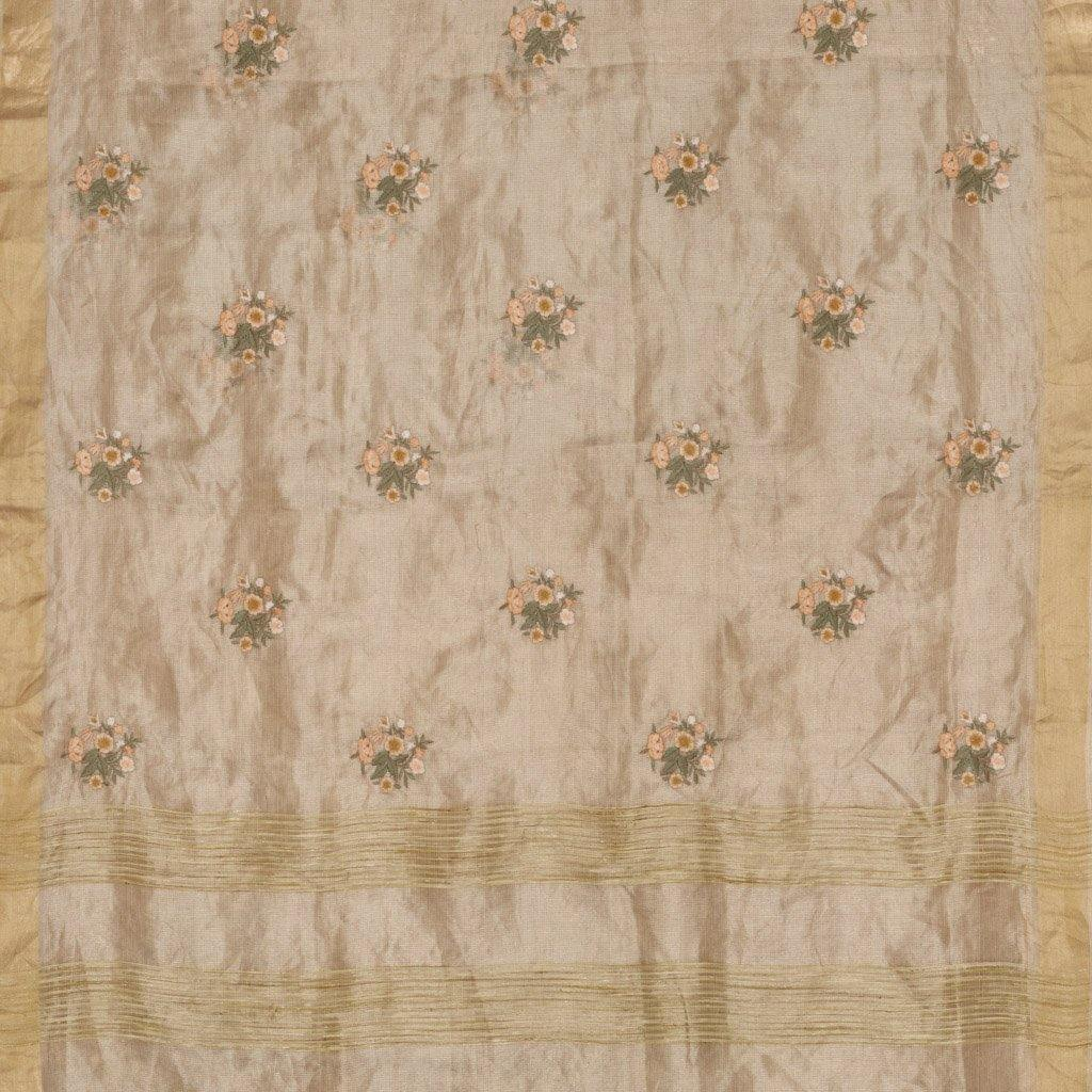 Light Gold Tissue Silk Embroidery Saree With Floral Motifs-225731 - Singhania's