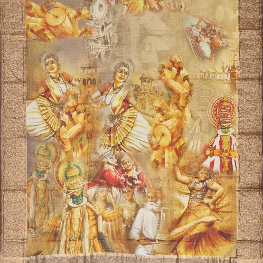 Multicolor Chanderi Printed Saree With Dancer Motifs-244976 - Singhania's
