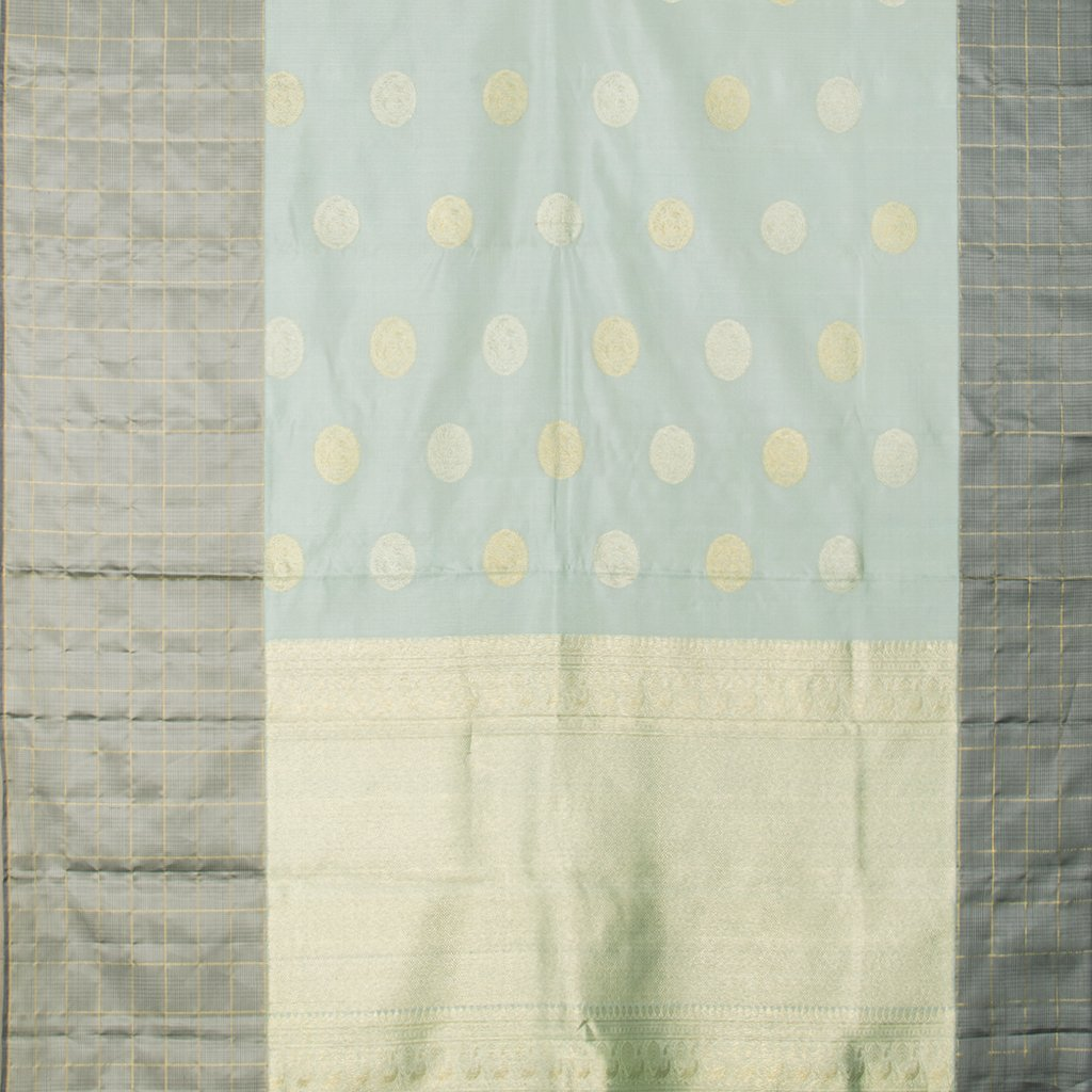 Powder Blue Kanjivaram Silk Handloom Saree