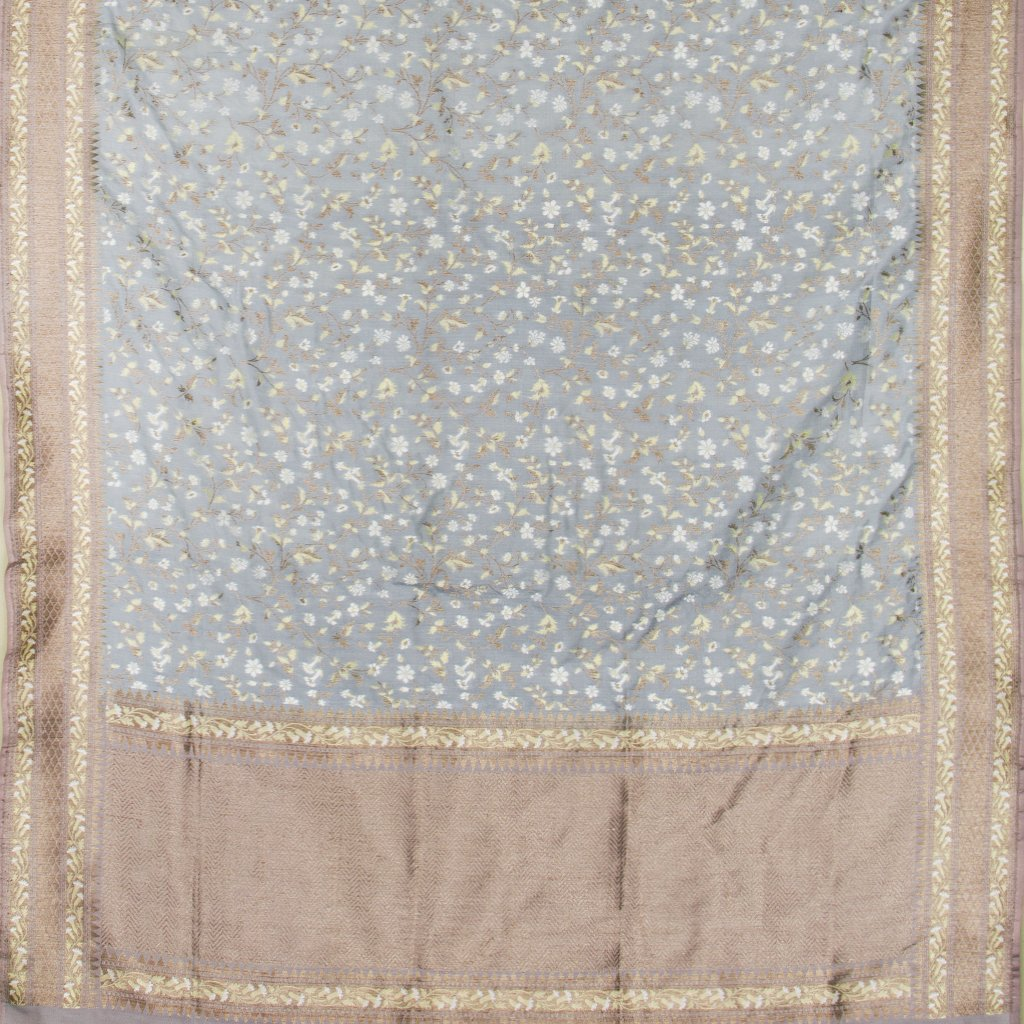 229103-Ice Grey Banarasi Silk Handloom Saree
