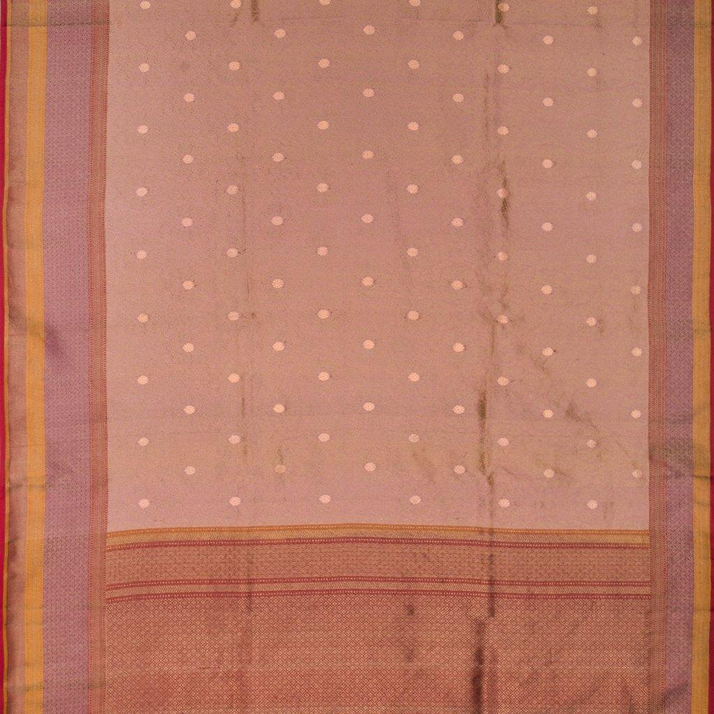 Pink-Gold Banarasi Silk Handloom Saree With Floral Jaal-229332 - Singhania's