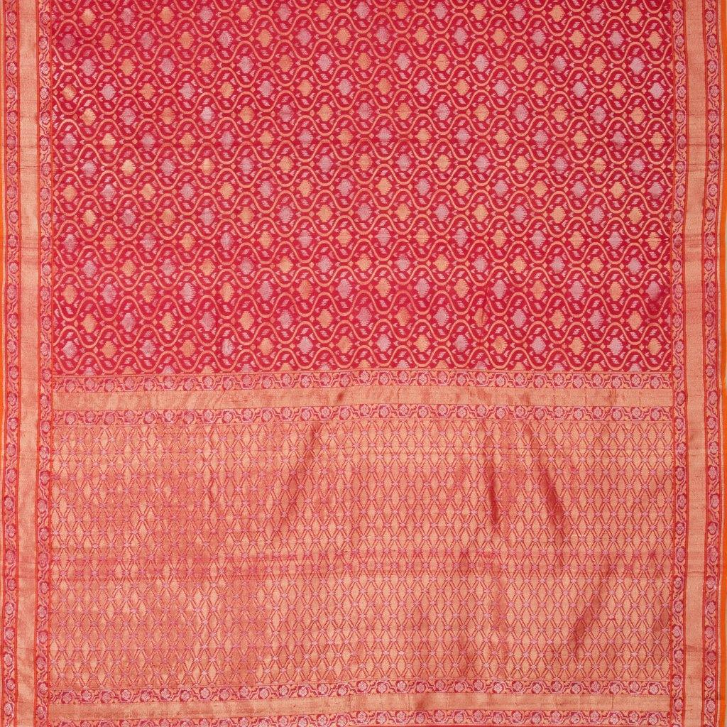 Tomato Red Banarasi SIlk Handloom Saree With Jaal Design-229632 - Singhania's