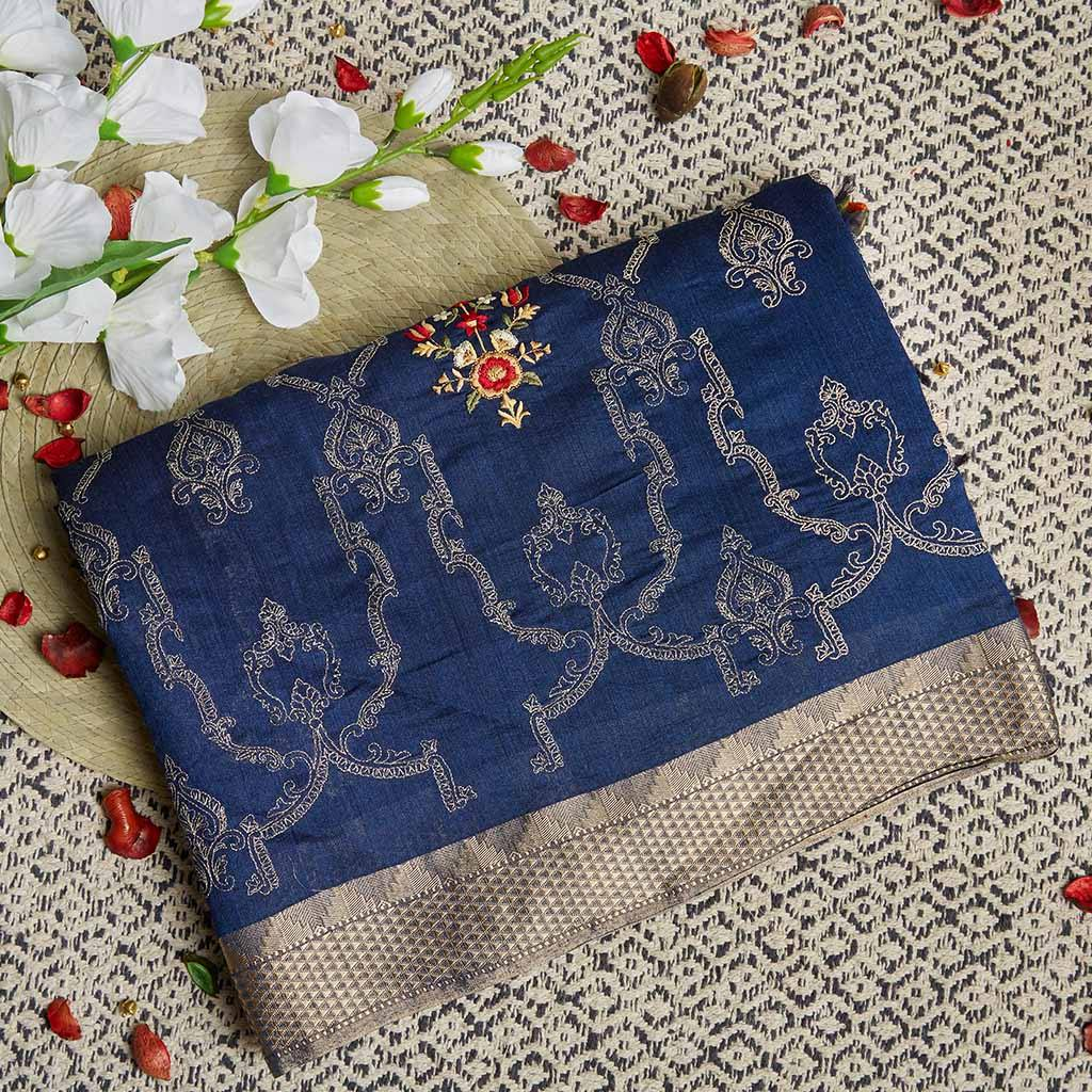 Navy Blue Tussar Silk Embroidery Saree With Floral Jaal-225833 - Singhania's