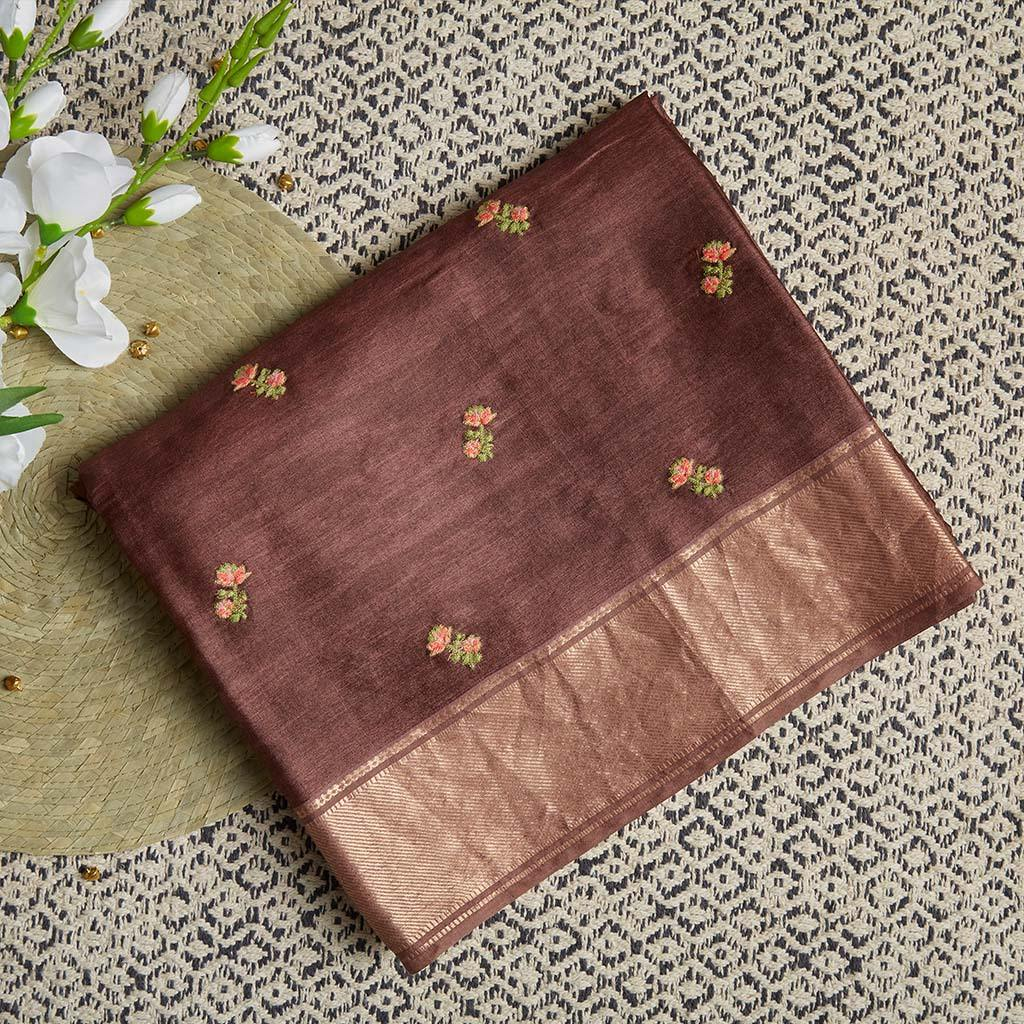 Rosewood Brown Tussar Emberoidery Saree With Floral Buttas-226144 - Singhania's