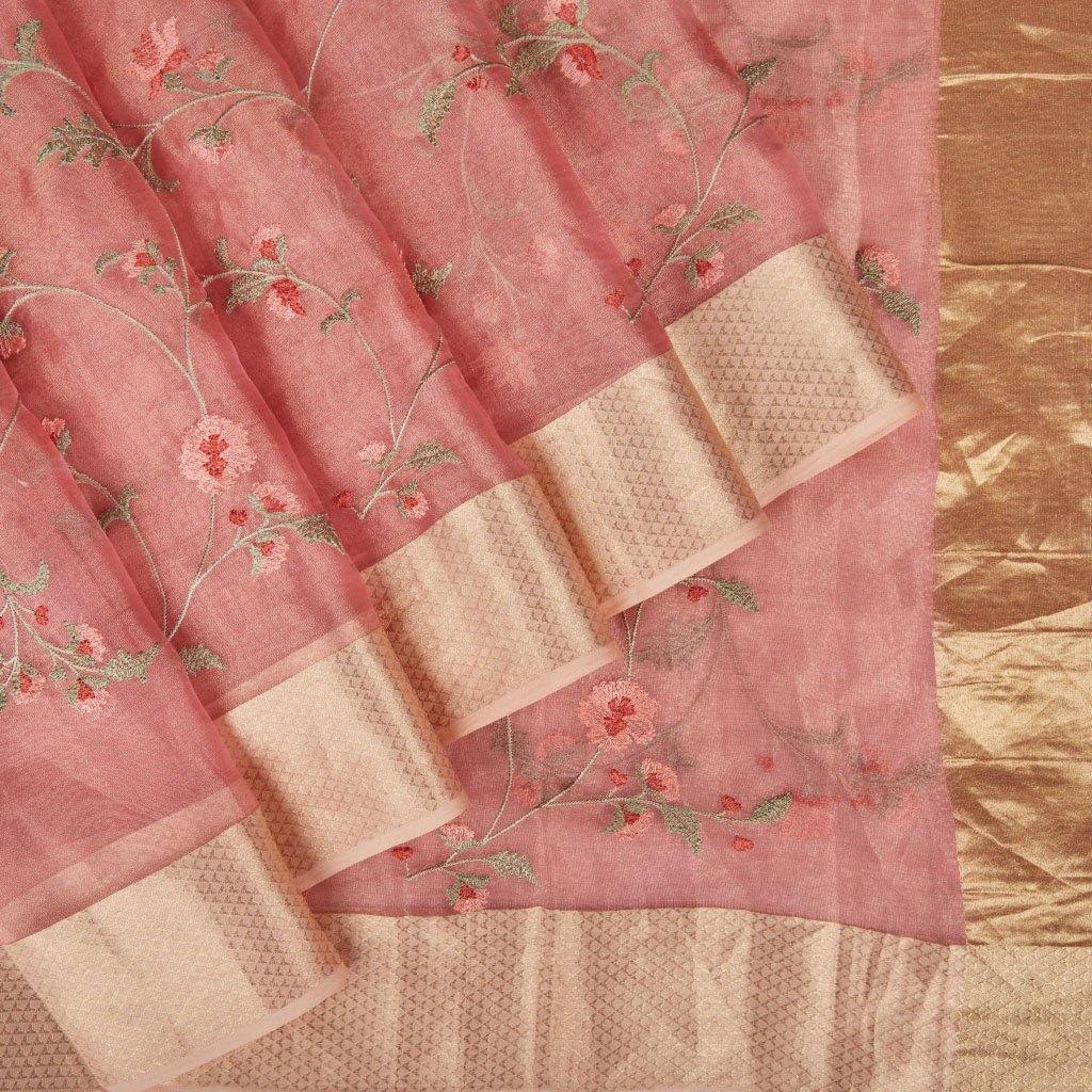 Rose Pink Tissue Organza Embroidery Saree With Floral Jaal-225947 - Singhania's