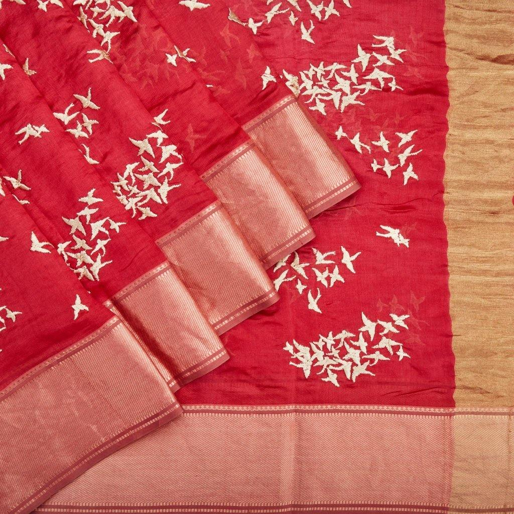 Candy Red Chanderi Silk Embroidery Saree With Floral Motifs-226153 - Singhania's