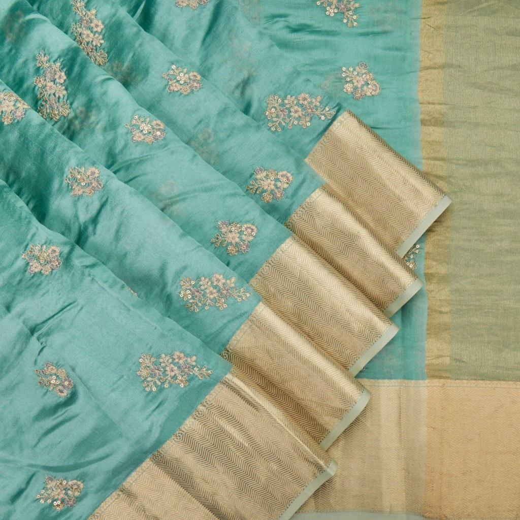 Pastel Blue Silk Embroidery Saree With Floral Motifs-225924 - Singhania's