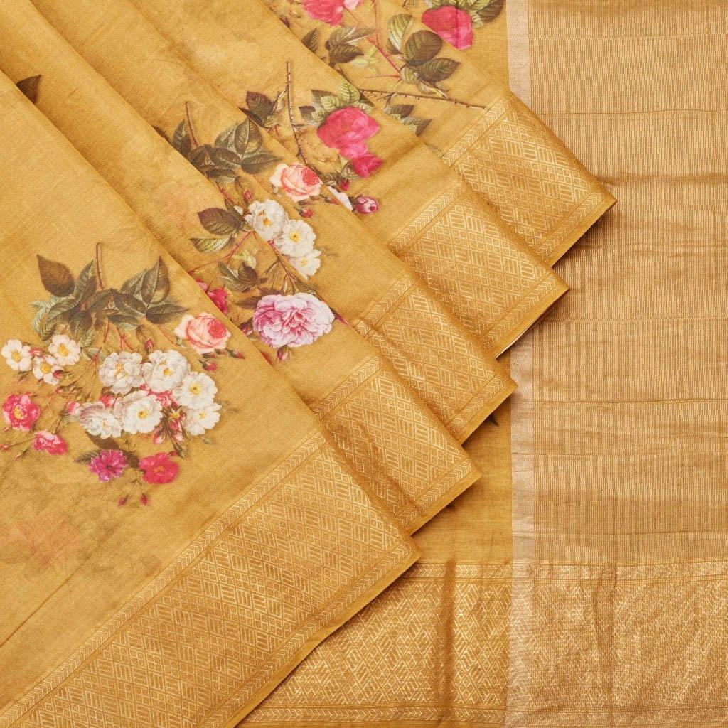 Mustard Yellow Chanderi Floral Printed Saree-244987 - Singhania's