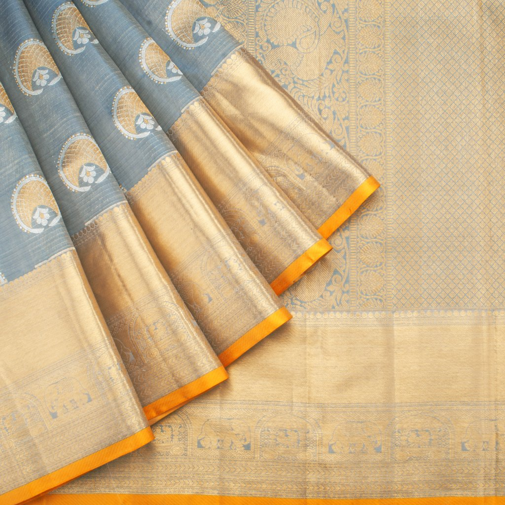 Dual Toned Blue Kanjivaram Silk Handloom Saree
