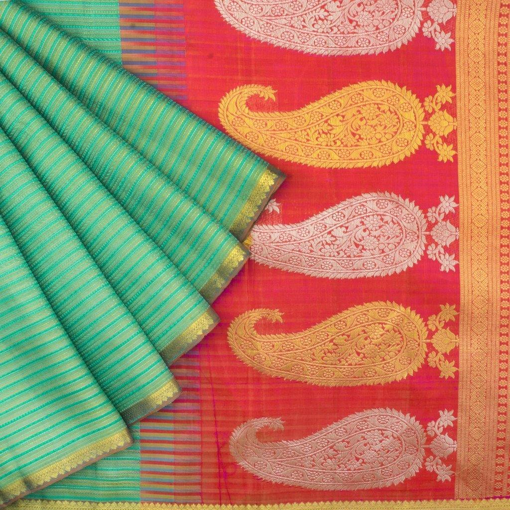 Viridian Green Borderless Kanjivaram Silk Handloom Saree-228425 - Singhania's