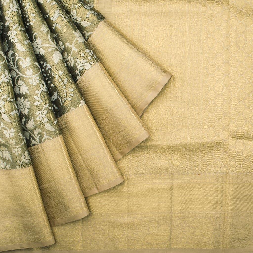 Henna Green Kanjivaram Silk Handloom Saree With Kalamkari Design-228554 - Singhania's