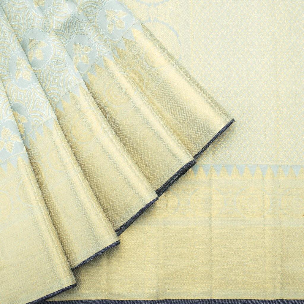 Sea Blue Kanjivaram Silk Handloom Saree With Jaal Design-228704 - Singhania's