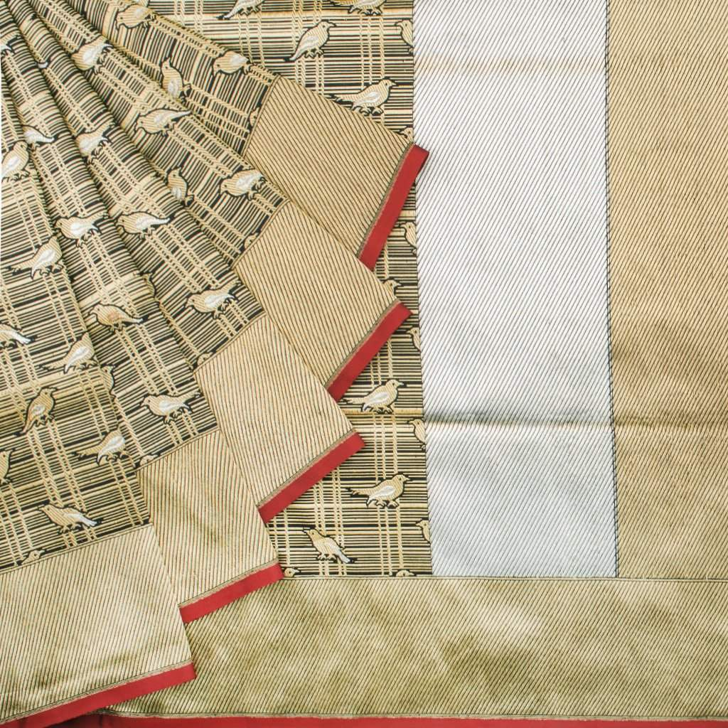 Black And Beige Banarasi Silk Handloom Saree