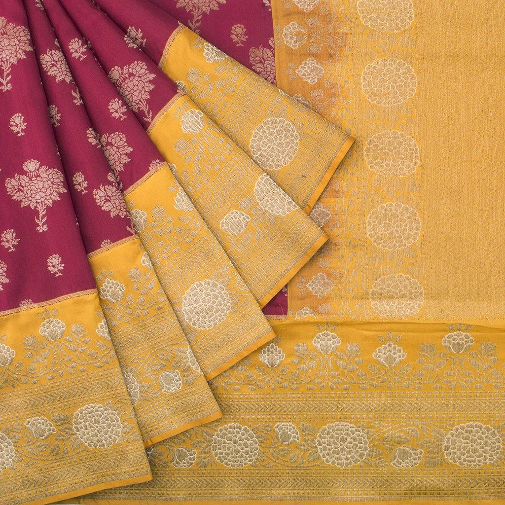 Red Violet Banarasi Silk Handloom Saree With Floral Motifs-229182 - Singhania's