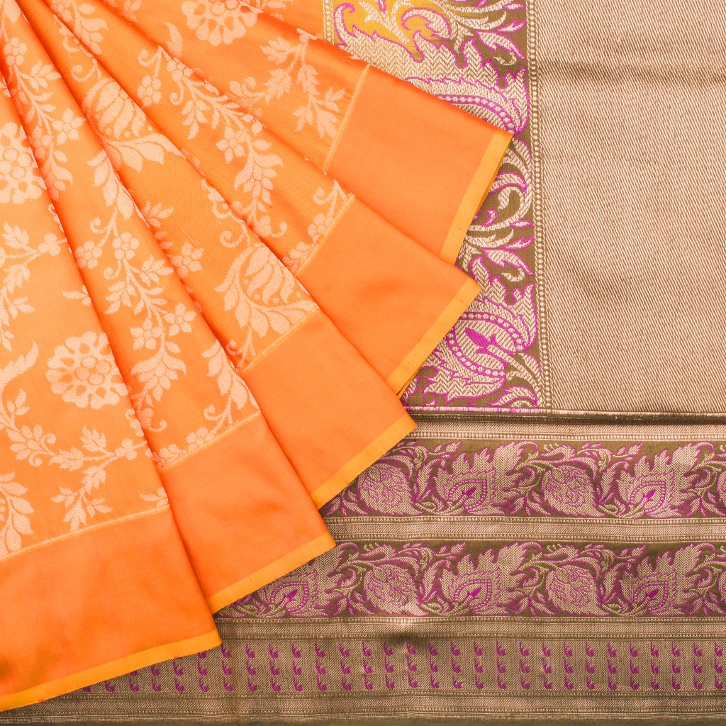 Fiery Yellow Banarasi Silk Handloom Saree