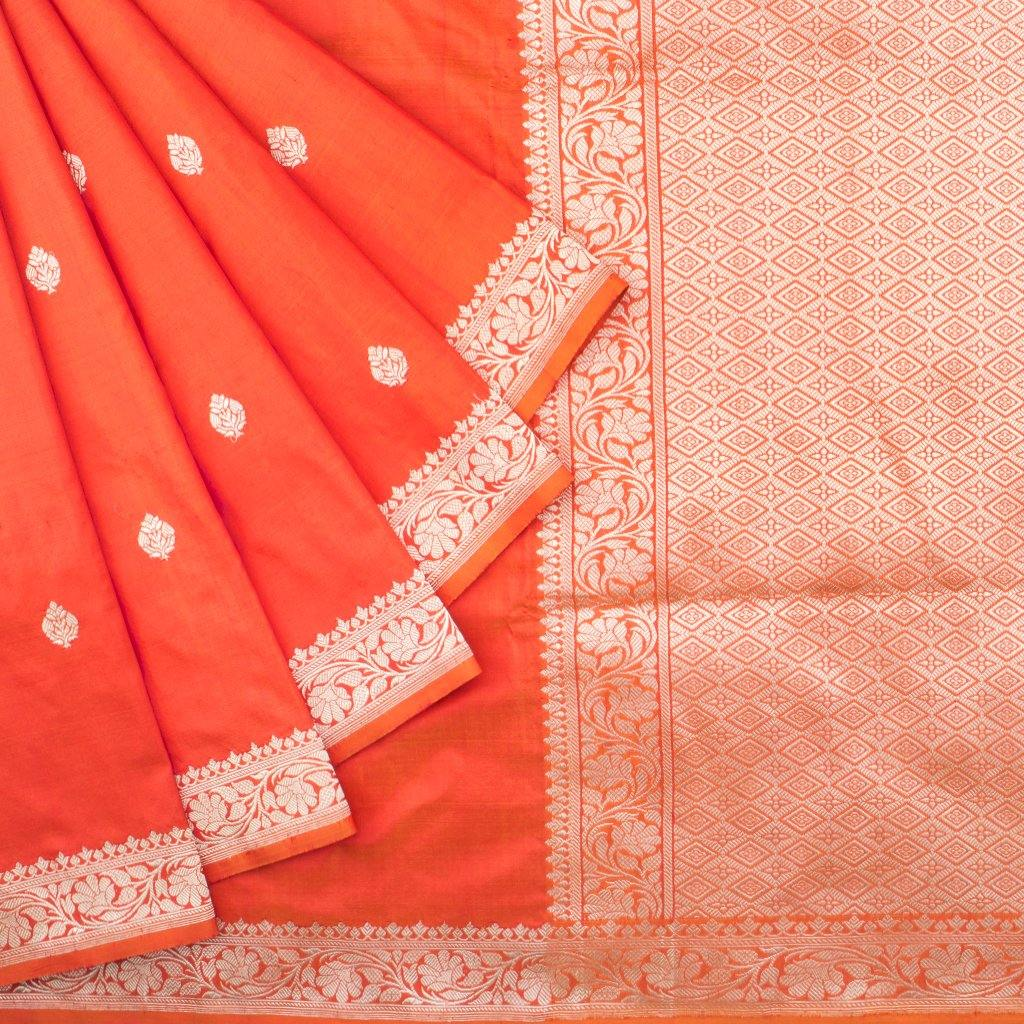 Fiery Orange Banarasi Silk Handloom Saree With Floral Buttas-229294 - Singhania's