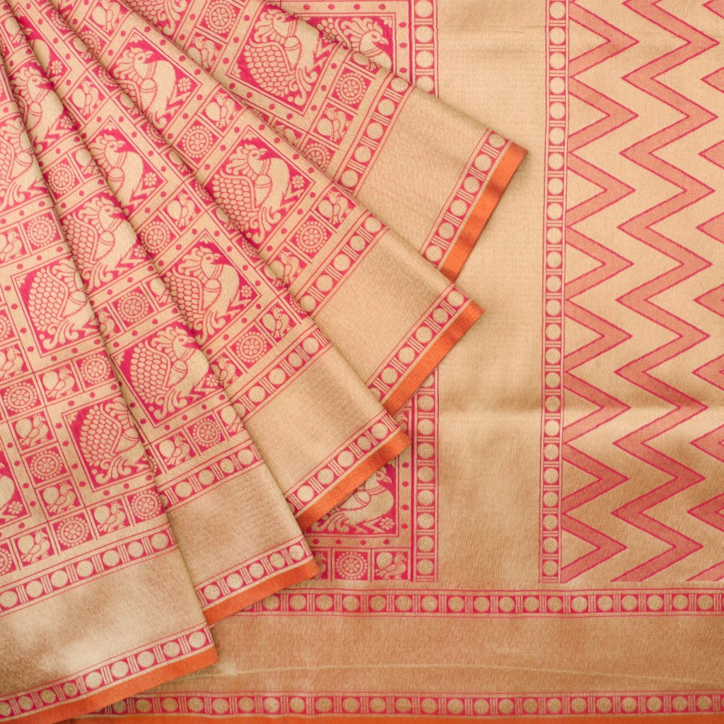 Rani Pink And Gold Banarasi Silk Handloom Saree