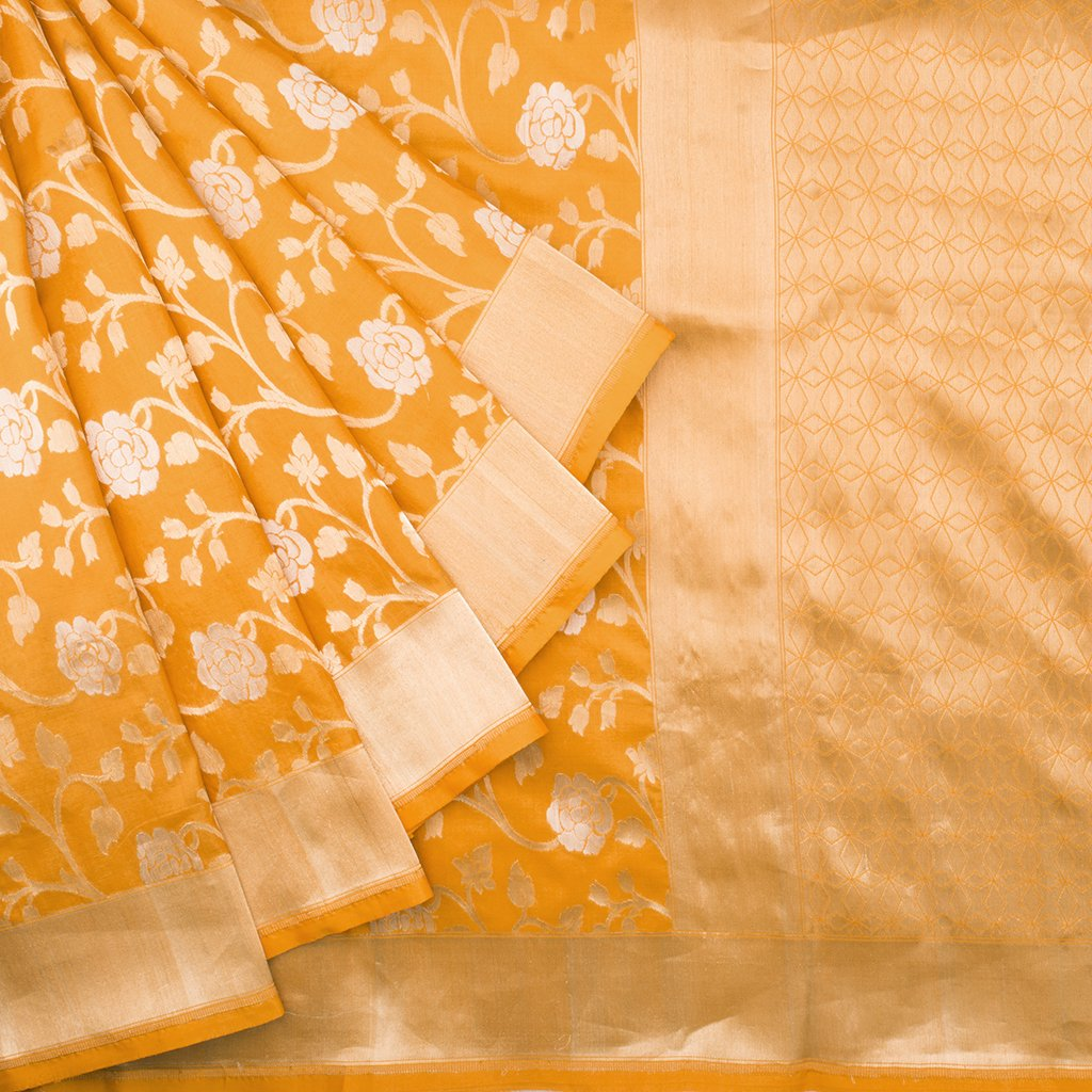 229357-Fiery Yellow Banarasi Silk Handloom Saree