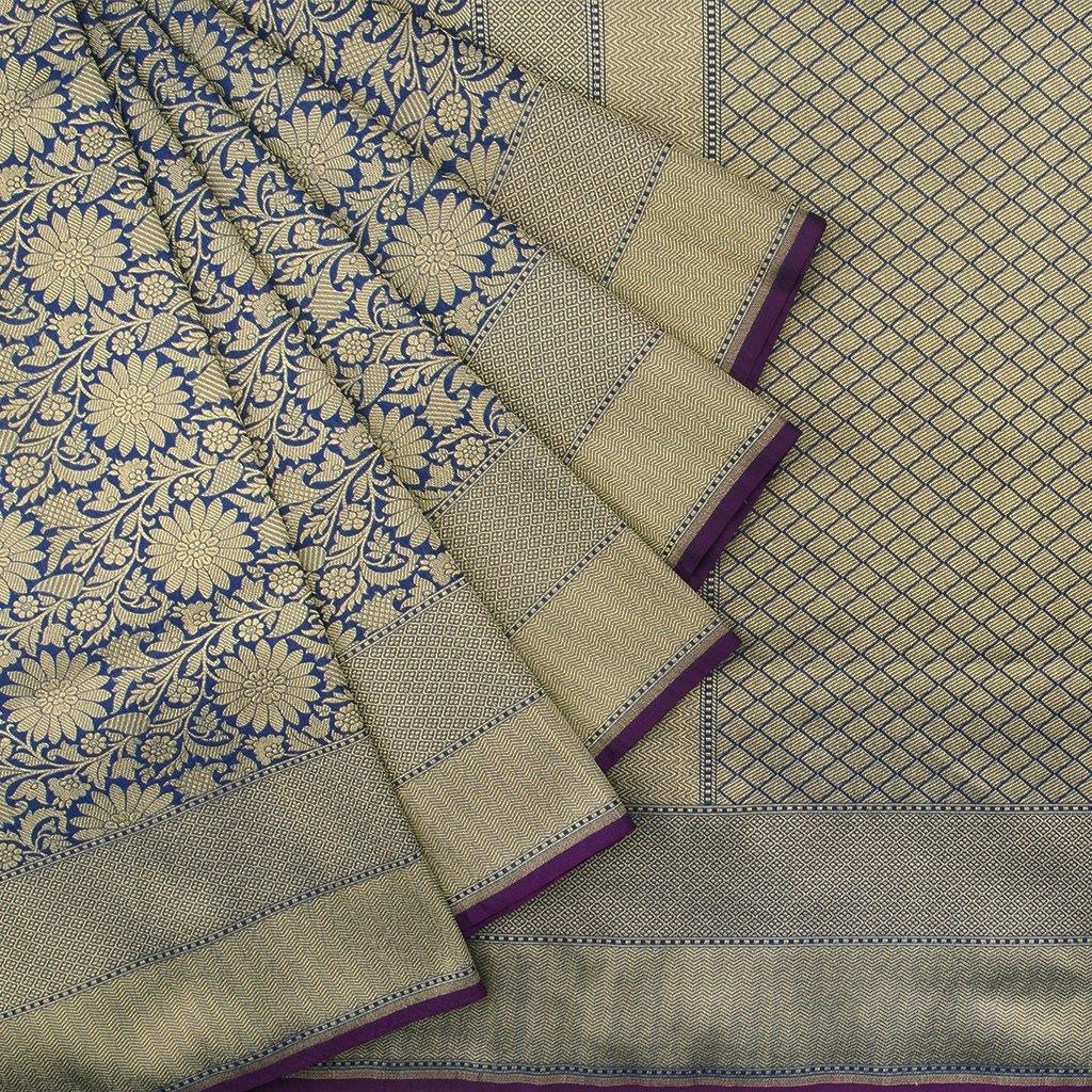 Royal Blue Banarasi Silk Handloom Saree With Floral Jaal-229396 - Singhania's
