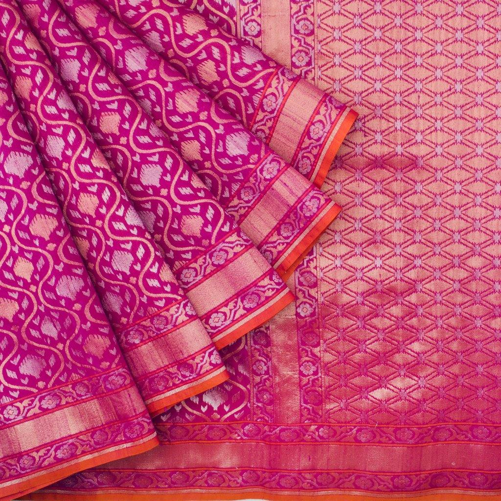 Rogue Pink Banarasi SIlk Handloom Saree With Jaal Design-229623 - Singhania's