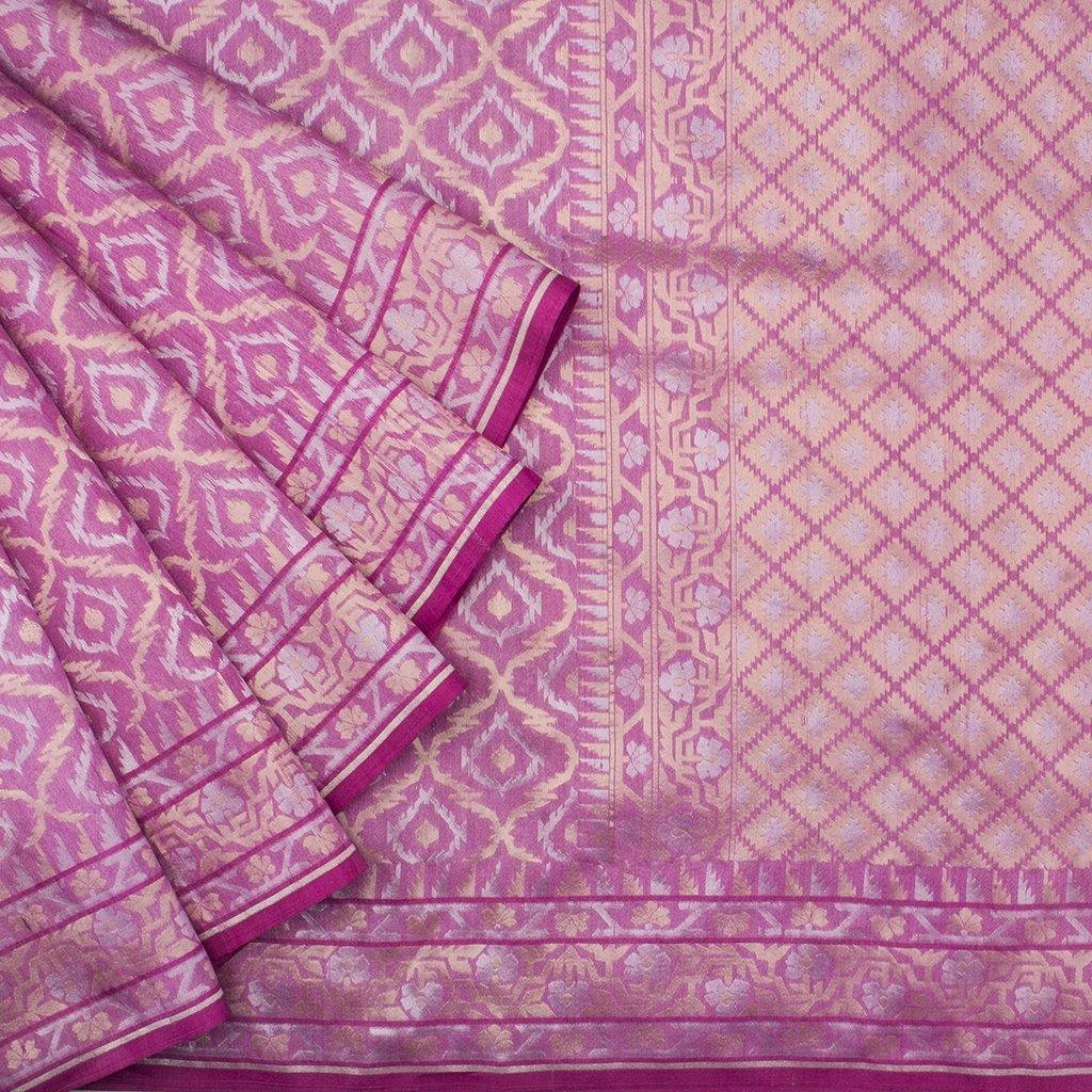 Bubblegum Pink Banarasi Tussar Handloom Saree With Jaal Design-229628 - Singhania's