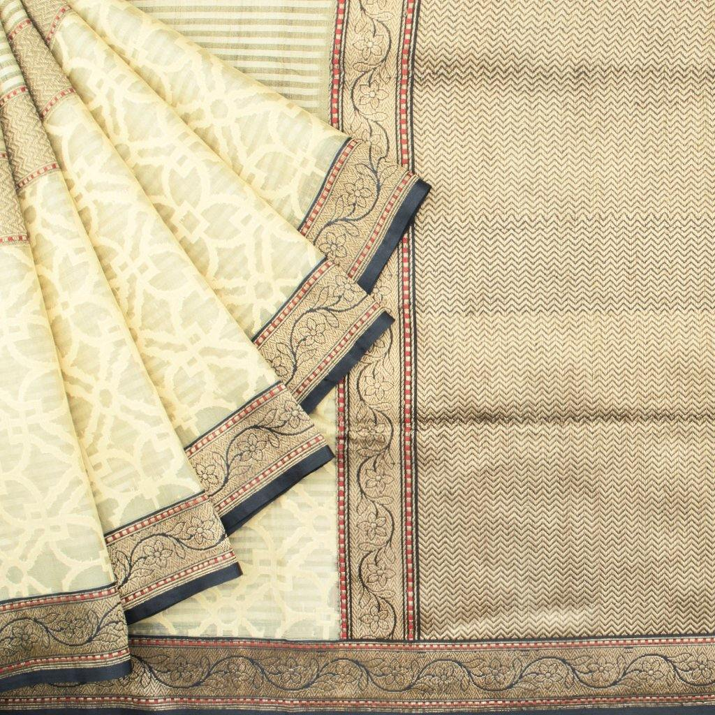 Cream Banarasi Tussar Handloom Saree With Stripes-229716 - Singhania's