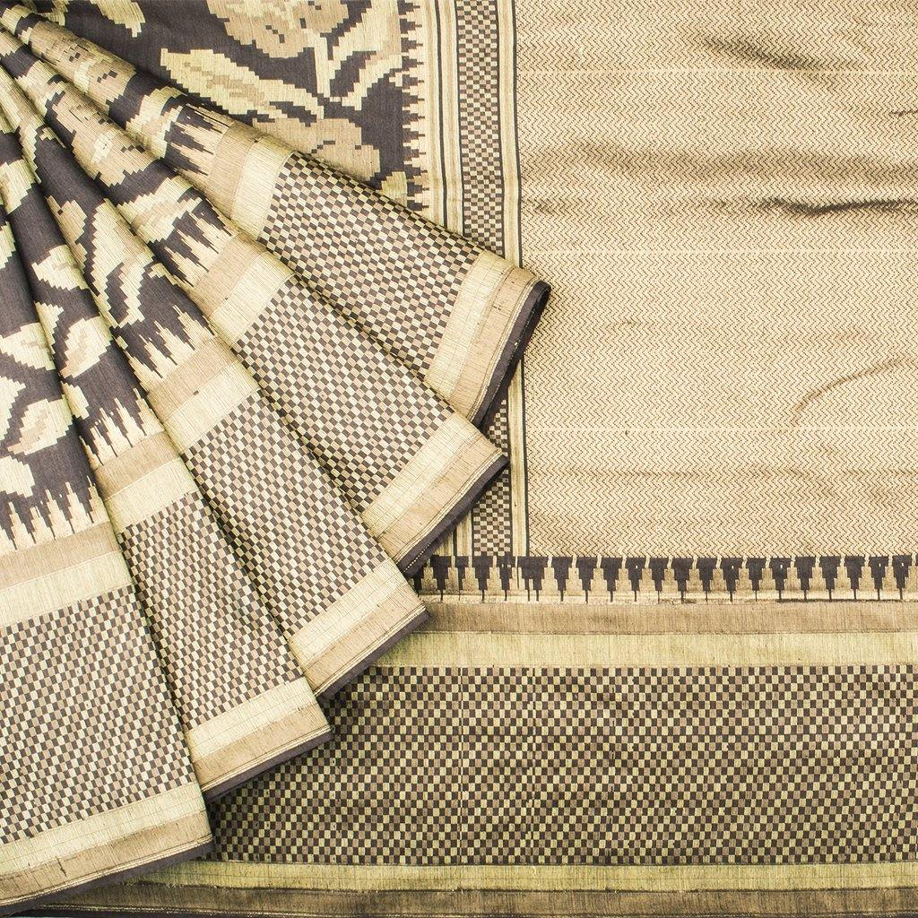 Chocolate Brown Banarasi Tussar Handloom Saree With Floral Jaal-229739 - Singhania's