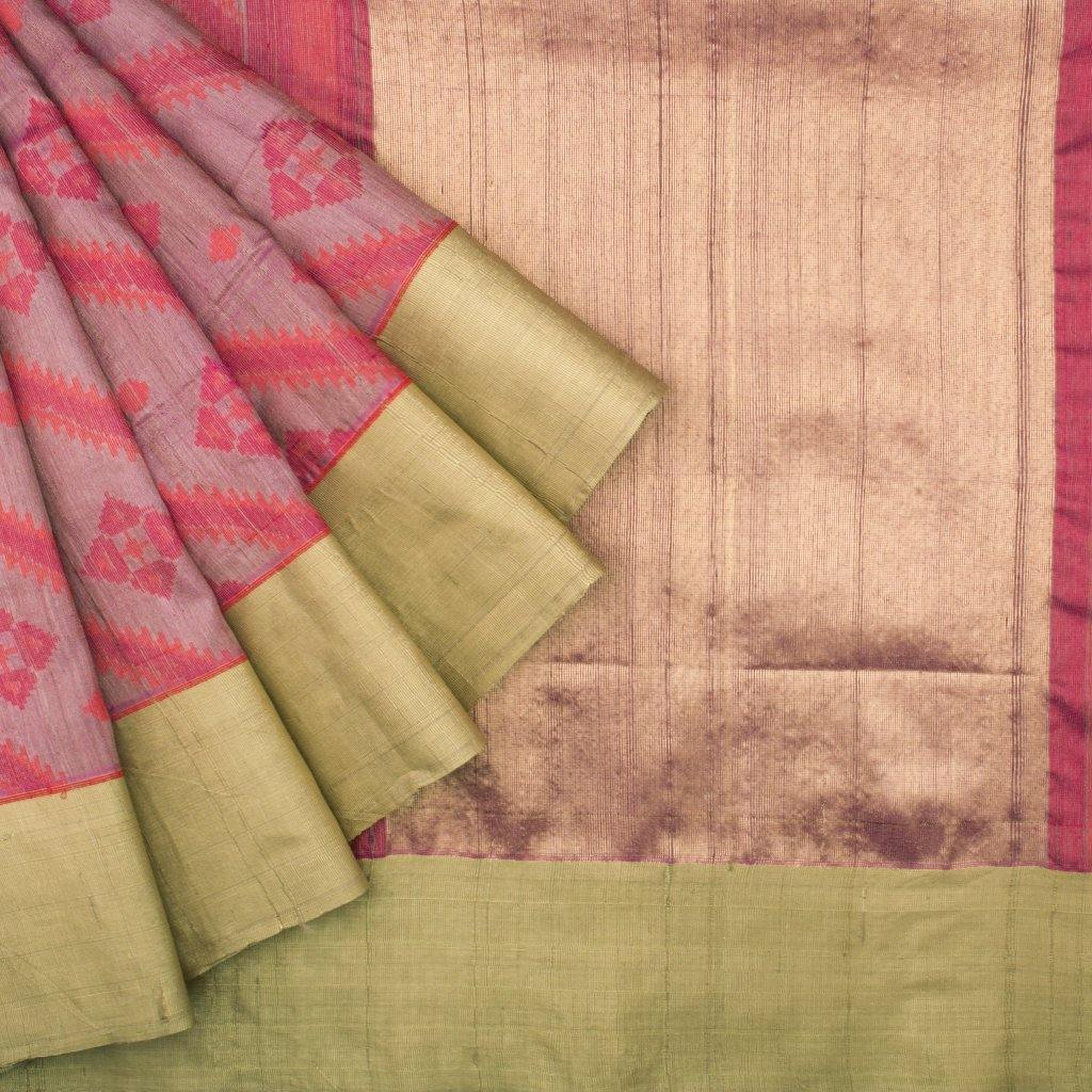 Shades Of Pink Banarasi Tussar Handloom Saree With Geometric Motifs-229749 - Singhania's