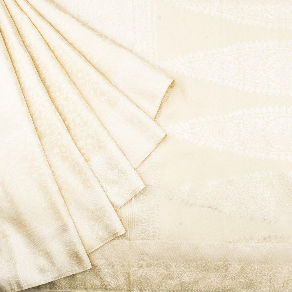 Cream Kanjivaram Silk Handloom Saree With Floral Jaal-241953 - Singhania's