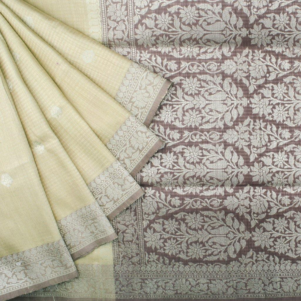 Pale Yellow Banarasi Tussar Handloom Saree With Floral Motifs - Singhania's