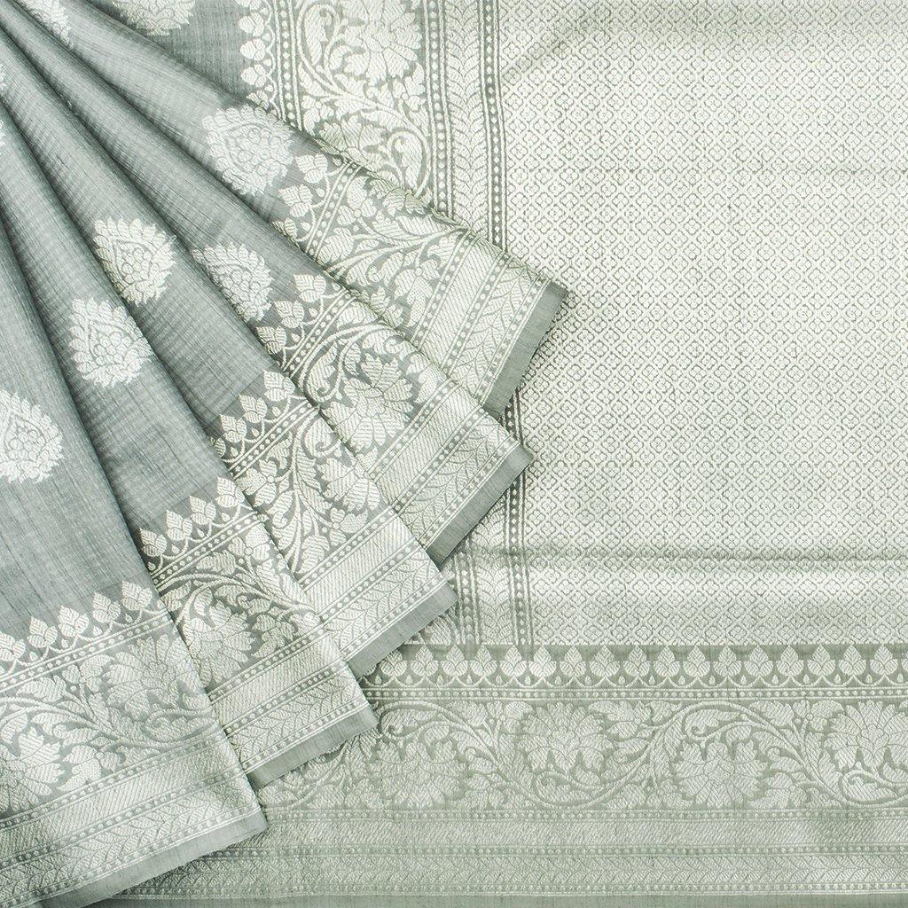 Ice Grey Banarasi Tussar Handloom Saree With Floral Motifs-242236 - Singhania's