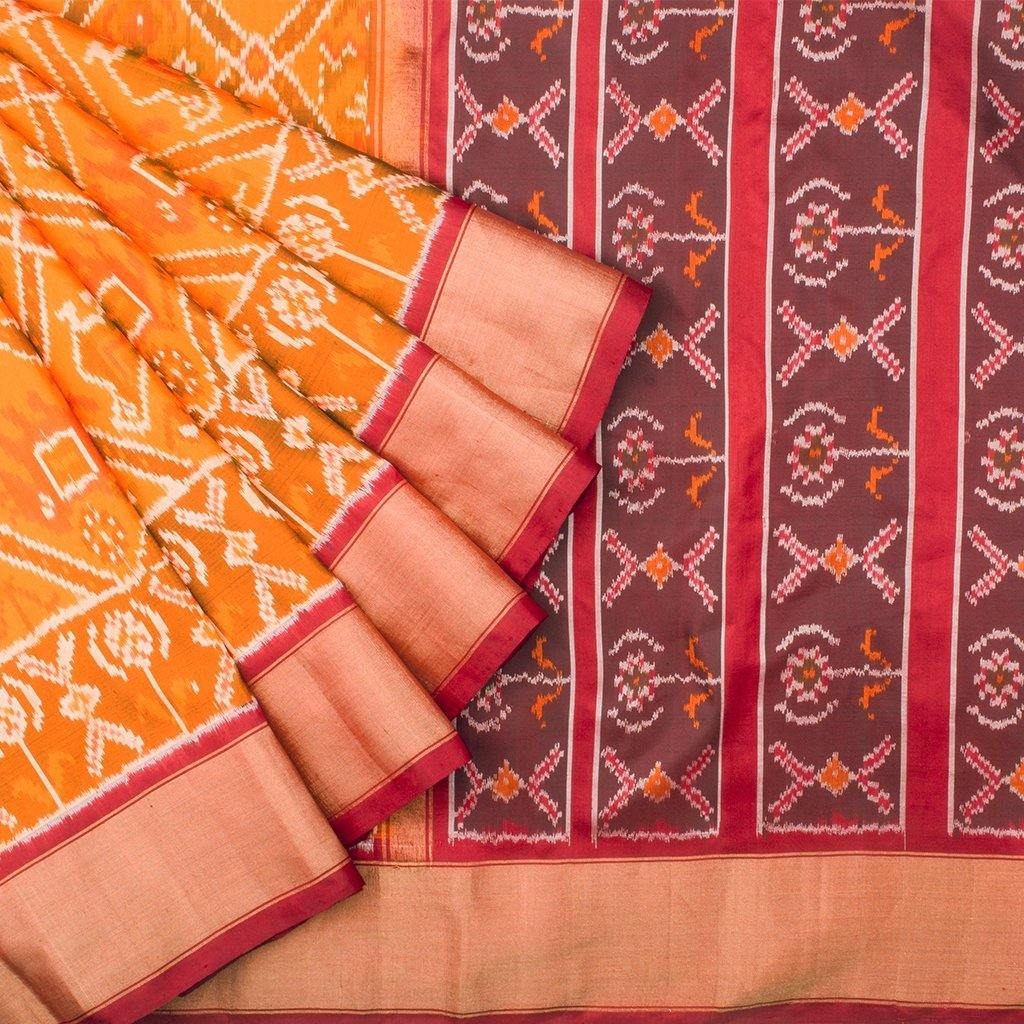Honey Yellow Ikkat Silk Handloom Saree-242469 - Singhania's