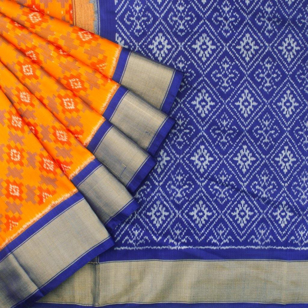 Fiery Yellow Ikkat Silk Handloom Saree-242474 - Singhania's