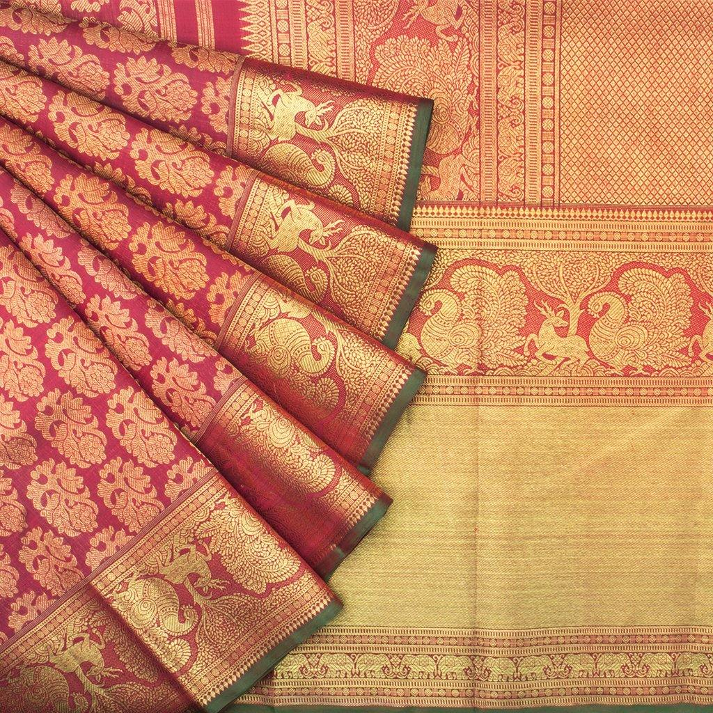 Berry Red Kanjivaram Silk Handloom Saree With Floral Motifs-244733 - Singhania's