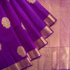 BB112061-Tulip Purple Kanjivaram Silk Handloom Saree With Selfcolor Border