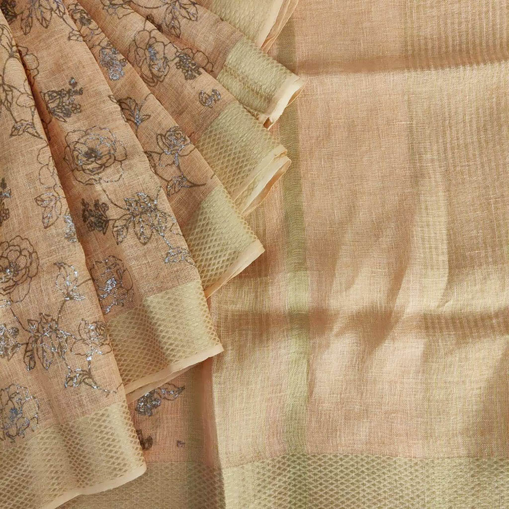 Buy Pastel Peach Foil Printed Linen Saree.