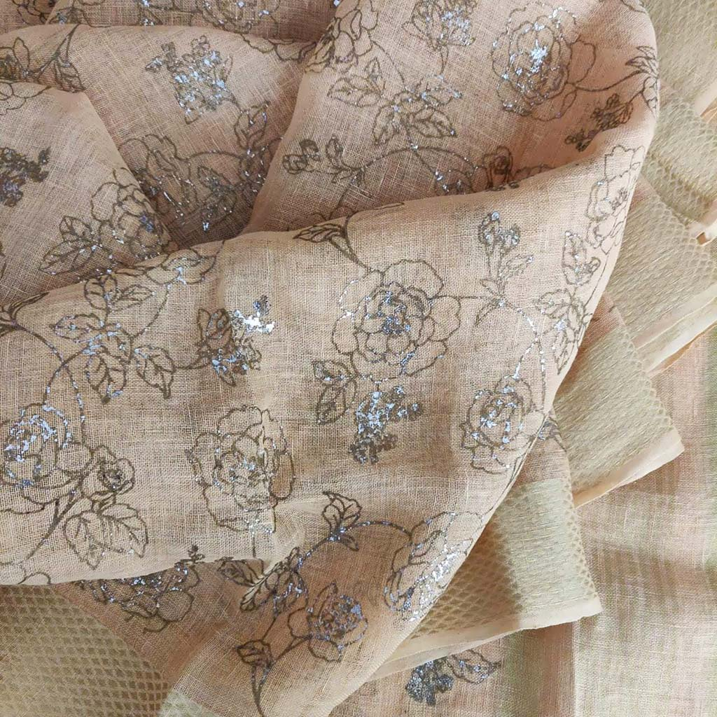 SALE080317-Pastel Peach Foil Printed Linen Saree.
