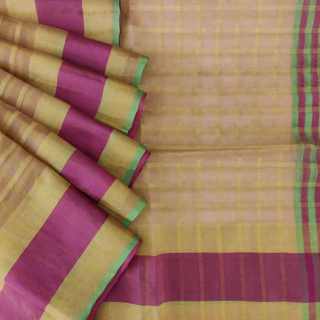 Buy Beige Organza Checkered Saree