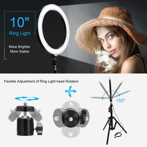adjustable angle 10 inch led ring light