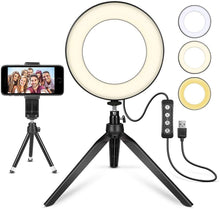 Load image into Gallery viewer, Desktop LED Ring Light with Tripod Stand