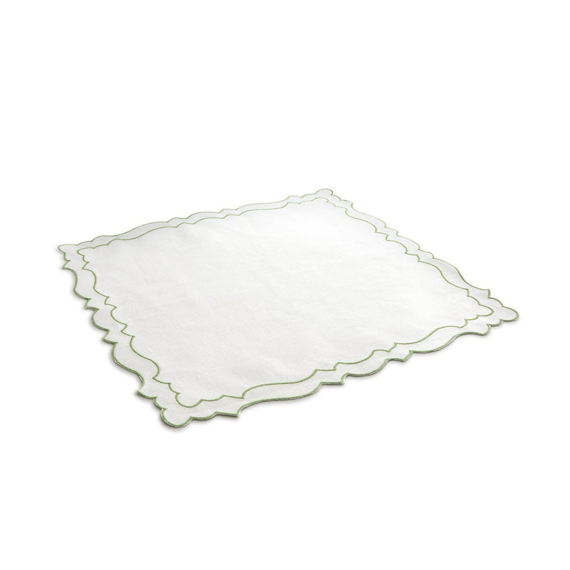 Placemat Coated Linen - White/Green