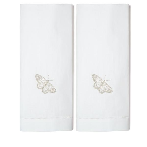 Set of Two Hand Towels - Silver Butterlfy