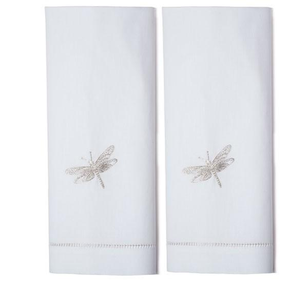 Set of Two Hand Towels - Silver Dragonfly