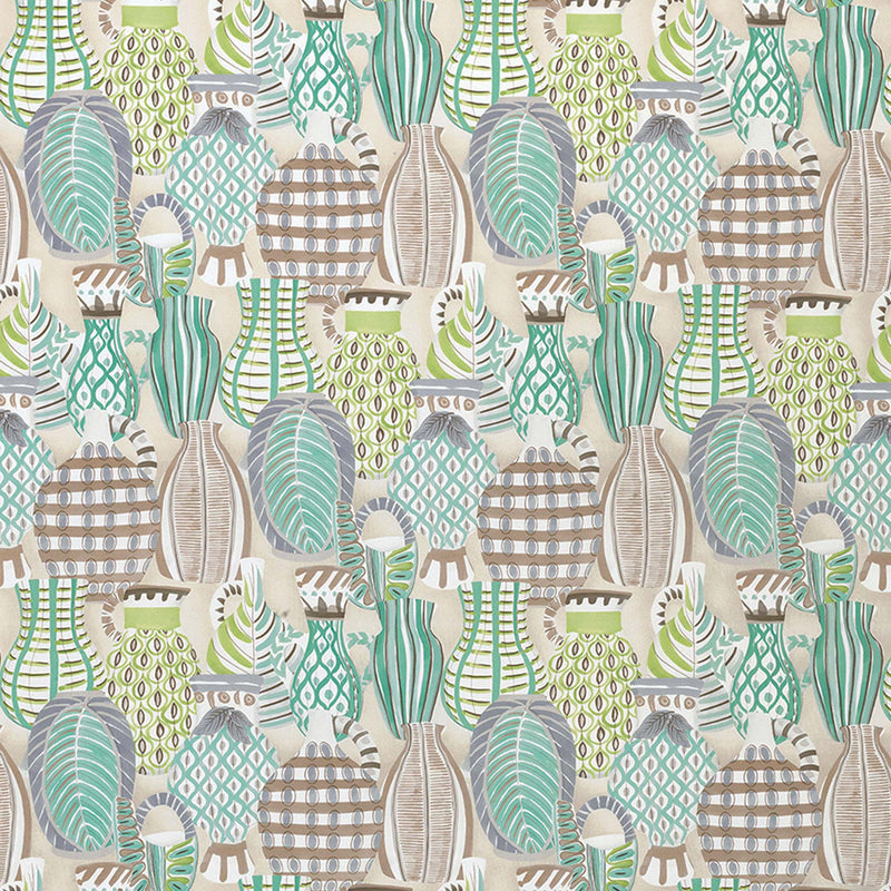 Les Rêves Collioure Aqua/Green/Lilac Fabric - NCF4290-02