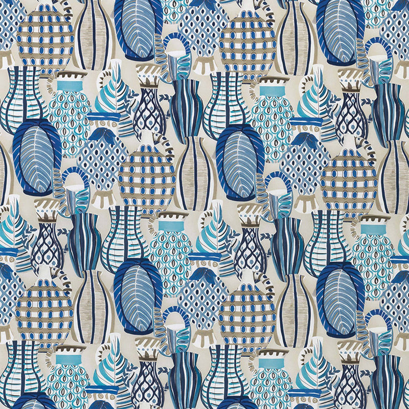 Les Rêves Collioure Blue/Beige Fabric - NCF4290-04