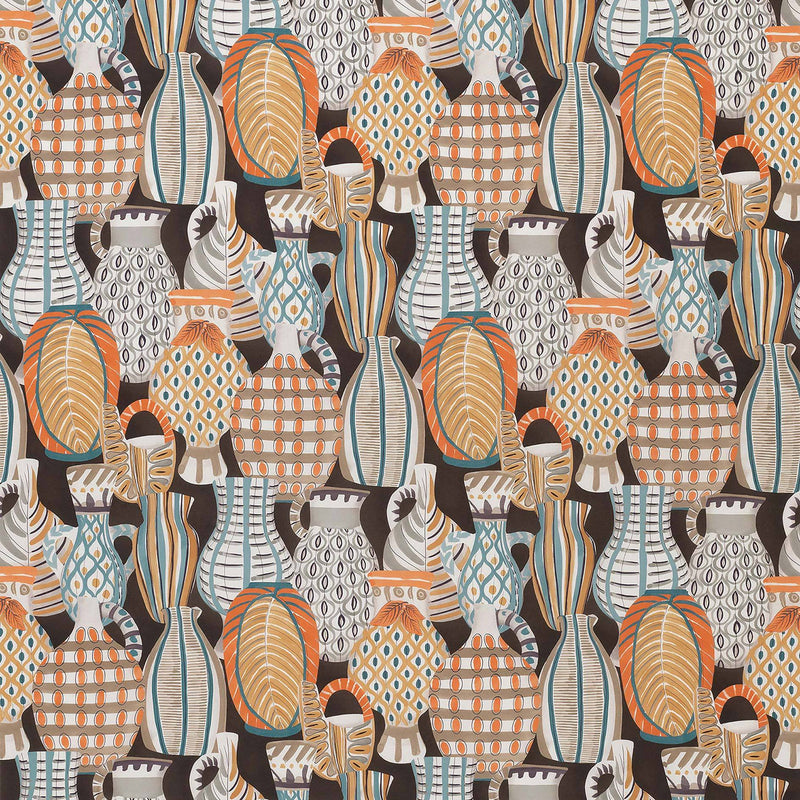 Les Rêves Collioure Chocolate/Orange Fabric - NCF4290-05