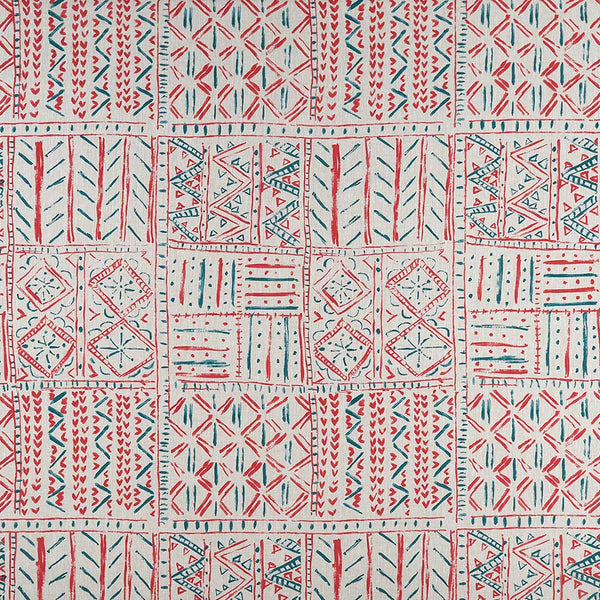 Ashdown Cloisters Red/Freh Blue Fabric - NCF4361-04