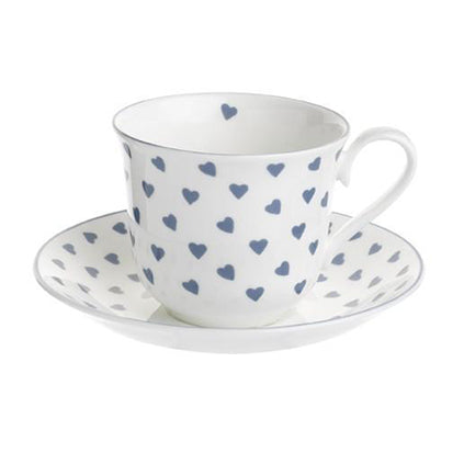 Heart Teacup & Saucer - Blue