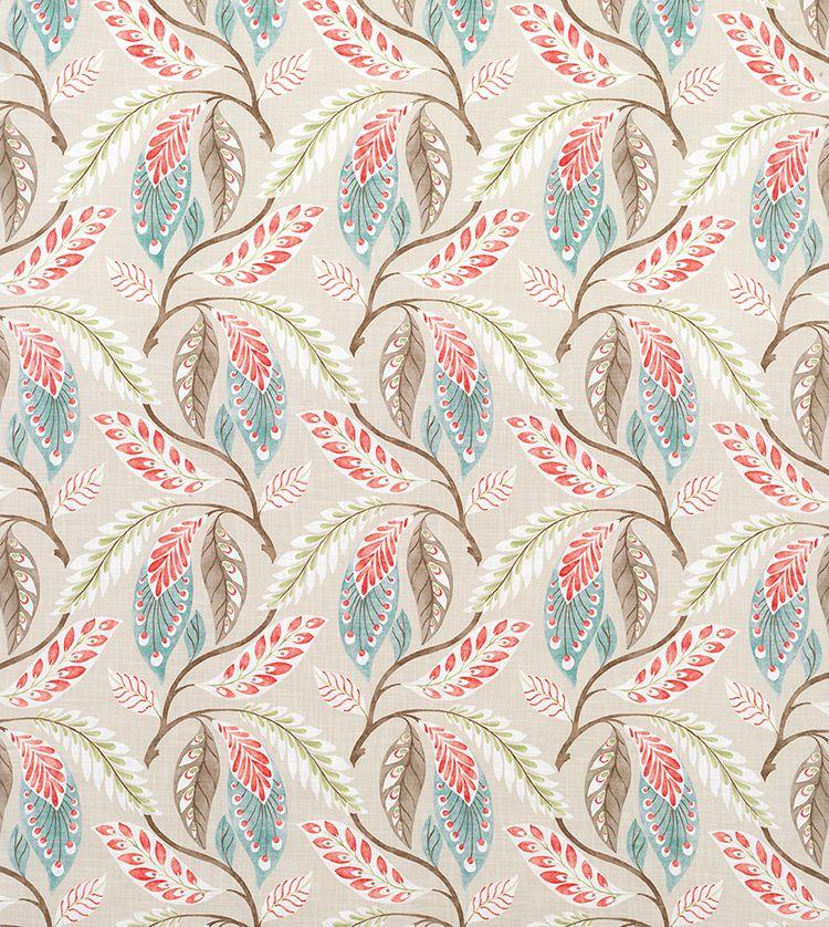 Fontibre Aqua/Coral Red Fabric - NCF4195-02